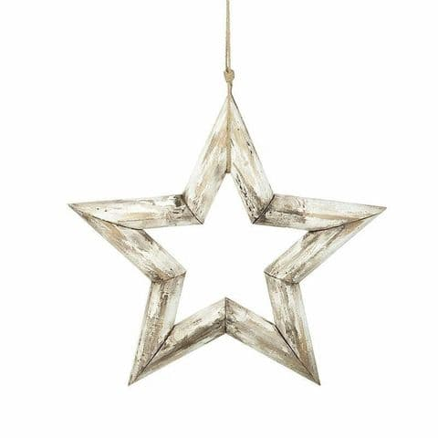 Shabby Chic White Wooden Hanging Star - 2 Size Choices